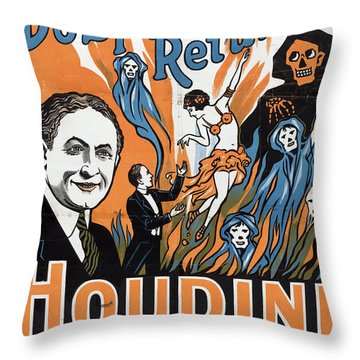 Vintage Houdini Poster Throw Pillow