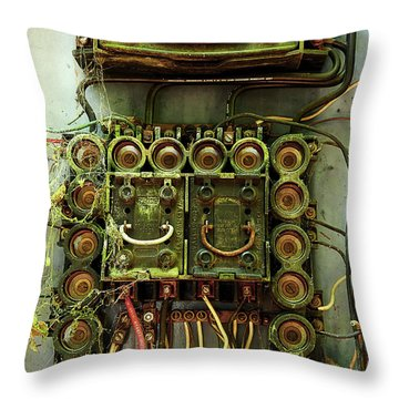 Vintage Household Fuse Box Throw Pillow