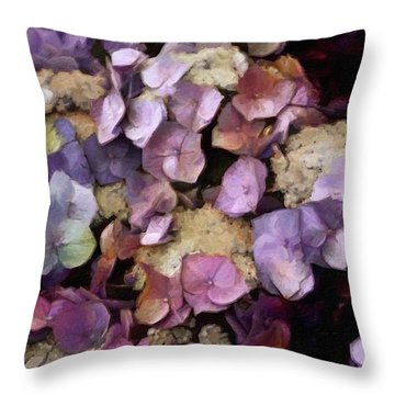 Throw Pillow featuring the mixed media Vintage Hydrangea by Susan Maxwell Schmidt