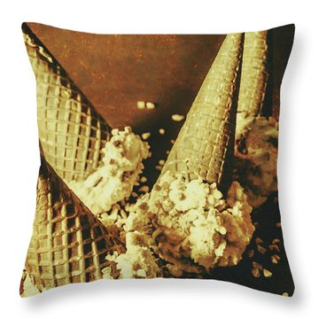 Vintage Ice Cream Cones Still Life Throw Pillow
