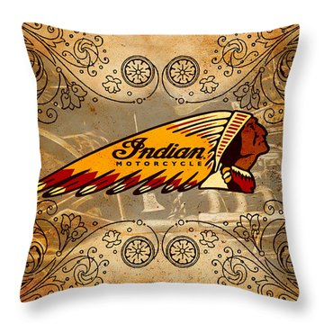 Vintage Indian Throw Pillow by Greg Sharpe