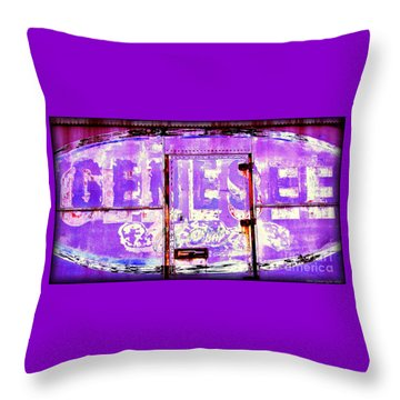Throw Pillow featuring the photograph Vintage Industrial Genesee Beer Sign by Peter Gumaer Ogden