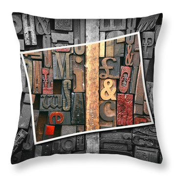 Vintage Inked Typeface Throw Pillow