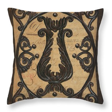 Vintage Iron Scroll Gate 2 Throw Pillow