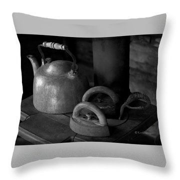 Vintage Items On Old Stove Throw Pillow