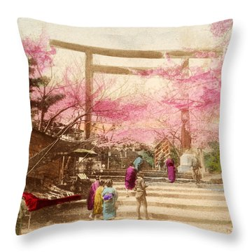 Vintage Japanese Art 25 Throw Pillow by Hawaiian Legacy Archive - Printscapes