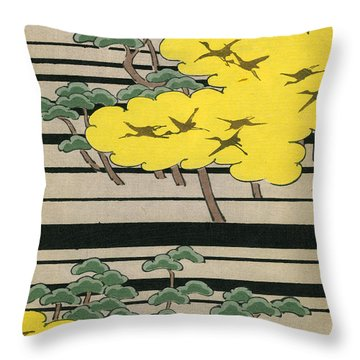 Vintage Japanese Illustration Of An Abstract Forest Landscape With Flying Cranes Throw Pillow