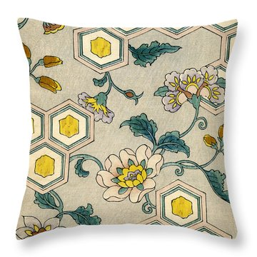 Vintage Japanese Illustration Of Blossoms On A Honeycomb Background Throw Pillow