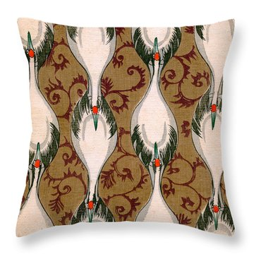 Vintage Japanese Illustration Of Cranes Flying Throw Pillow