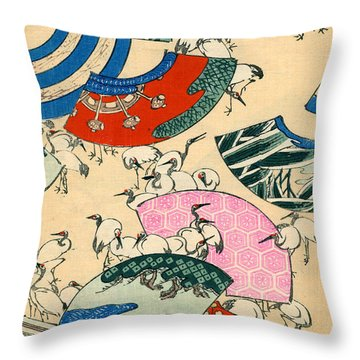 Vintage Japanese Illustration Of Fans And Cranes Throw Pillow by Japanese School
