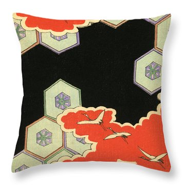Vintage Japanese Illustration Of Red Clouds And Flying Cranes In An Abstract Landscape Throw Pillow