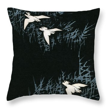 Vintage Japanese Illustration Of Three Cranes Flying In A Night Landscape Throw Pillow