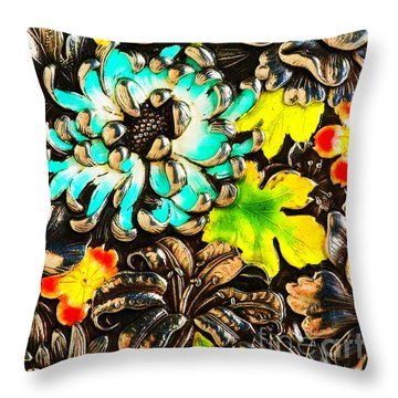 Vintage Japanese Panel With Lilies Chrysanthemums And Peonies Throw Pillow