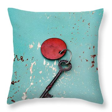 Vintage Key With Red Tag Throw Pillow by Jill Battaglia