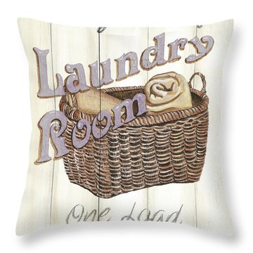Throw Pillow featuring the painting Vintage Laundry Room 2 by Debbie DeWitt