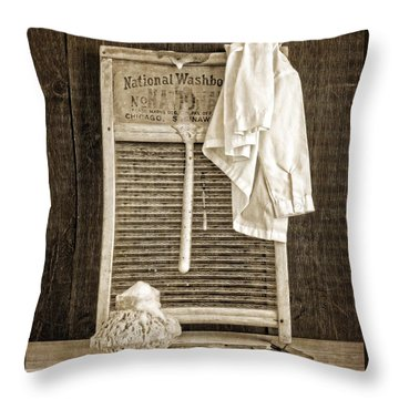 Vintage Laundry Room Throw Pillow by Edward Fielding