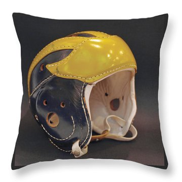 Throw Pillow featuring the photograph Vintage Leather Wolverine Helmet by Michigan Helmet