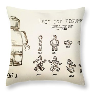 Vintage Lego Toy Figure Patent - Graphite Pencil Sketch Throw Pillow