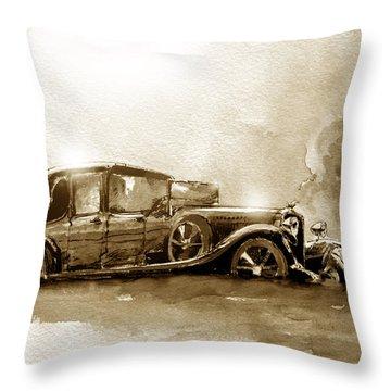 Vintage Limousine In Sepia Tones Throw Pillow