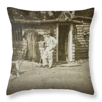 Throw Pillow featuring the photograph Vintage Log Cabin by Linda Phelps