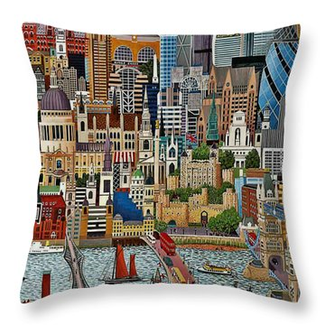 Throw Pillow featuring the drawing Vintage London by Digital Art Cafe