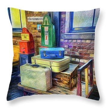 Vintage Luggage Throw Pillow