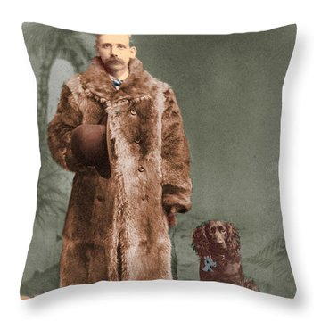 Throw Pillow featuring the photograph Vintage Man And Spaniel Dog by Lyric Lucas