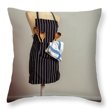 Vintage Mannequin With Kitchen Utensils Throw Pillow