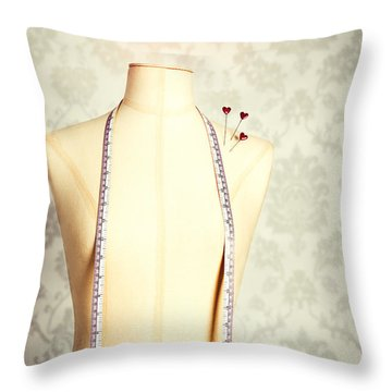 Vintage Mannequin With Tape Measure Throw Pillow