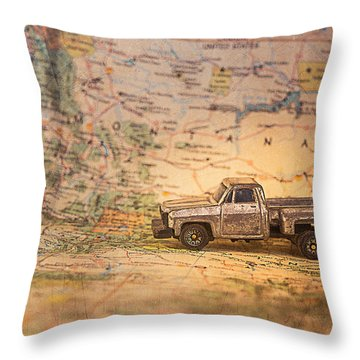 Throw Pillow featuring the photograph Vintage Map And Truck by Mary Hone