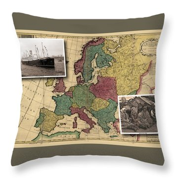 Vintage Map Europe Immigrants Throw Pillow