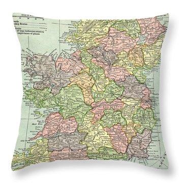 Vintage Map Ireland Throw Pillow