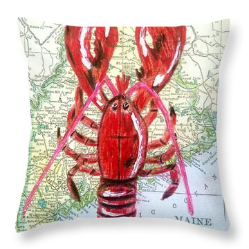 Vintage Map Maine Red Lobster Throw Pillow