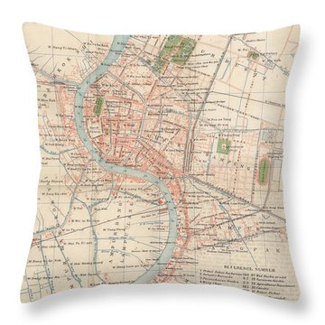 Vintage Map Of Bangkok, Thailand From 1920 Throw Pillow