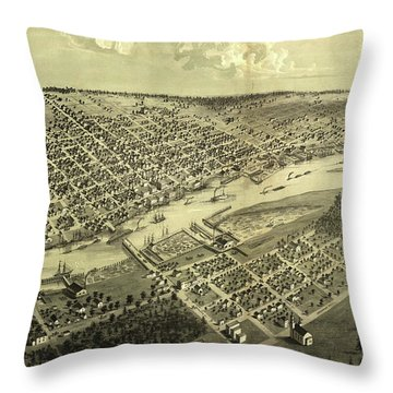 Vintage Map Of Bay City Michigan - 1867 Throw Pillow