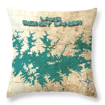 Vintage Map - Sidney Lanier Ga Throw Pillow