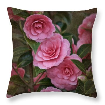 Throw Pillow featuring the photograph Vintage March 2017 Camillias No. 2 by Richard Cummings