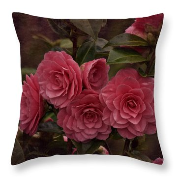 Throw Pillow featuring the photograph Vintage March 2017 Camillias by Richard Cummings