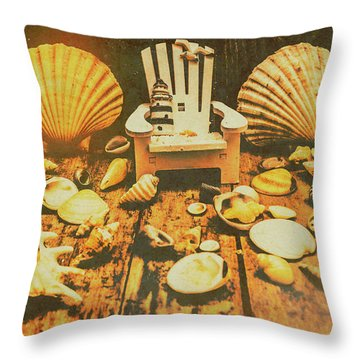 Vintage Marine Scene Throw Pillow