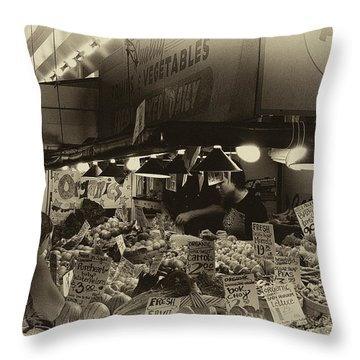 Vintage Market Throw Pillow by David Patterson