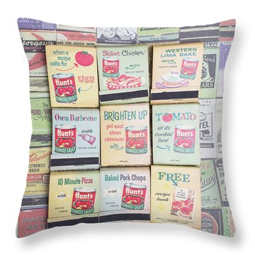 Throw Pillow featuring the photograph Vintage Matchbooks by Edward Fielding