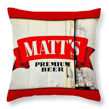 Vintage Matt's Premium Beer Sign Throw Pillow
