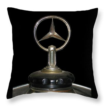 Throw Pillow featuring the photograph Vintage Mercedes Radiator Cap by David and Carol Kelly