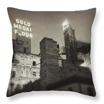 Vintage Mill City Throw Pillow by Heidi Hermes