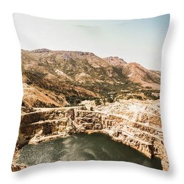 Vintage Mining Pit Throw Pillow