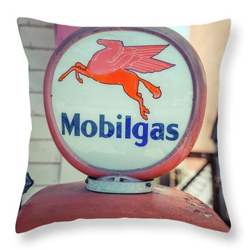 Vintage Mobil Gas Pump Throw Pillow