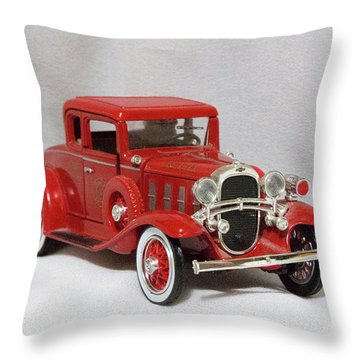 Throw Pillow featuring the photograph Vintage Model Fire Chiefcar by Linda Phelps