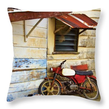 Vintage Motorbike Throw Pillow