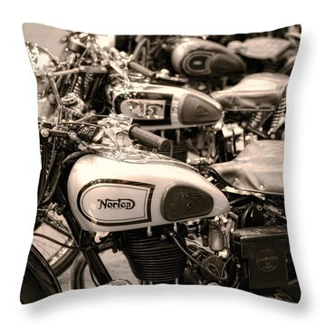 Vintage Motorcycles Throw Pillow