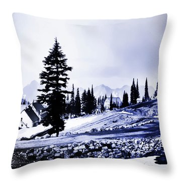 Vintage Mount Rainier Lodge Early 1900 Era... Throw Pillow